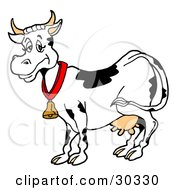 Clipart Illustration Of A Happy Black And White Dairy Cow Wearing A Bell Around Its Neck by LaffToon