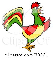 Clipart Illustration Of A Colorful Farm Rooster Crowing At Dawn by LaffToon