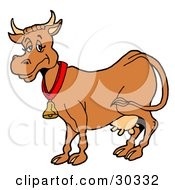 Clipart Illustration Of A Happy Brown Dairy Cow With Full Udders Wearing A Bell Around Its Neck