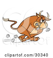 Clipart Illustration Of A Raging Brown Charging Bull Running With Smoke Coming Out Of His Nose by LaffToon