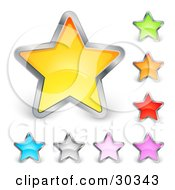 Clipart Illustration Of A Set Of Yellow Green Orange Red Purple Pink Silver And Blue Stars Trimmed In Chrome