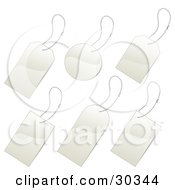Clipart Illustration Of A Set Of Six Blank White Tags With Chains