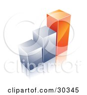Clipart Illustration Of A Financial Bar Graph Of Two Chrome Columns And One Tall Orange One