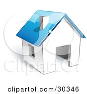 Clipart Illustration Of A Pre Made Logo Of A White Home With A Blue Roof by beboy