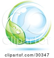 Clipart Illustration Of A Pre Made Logo Of A Dewy Green Leaf Circling A Blue Orb by beboy