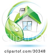Clipart Illustration Of A Pre Made Logo Of Dewy Green Leaf Circling A Home With A Green Roof by beboy