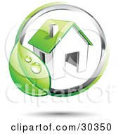 Clipart Illustration Of A Pre Made Logo Of A Circling Dewy Green Leaf Around A Home by beboy