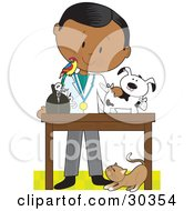 Clipart Illustration Of A Black Male Veterinarian With A Bird On His Shoulder Bandaging Up An Injured Puppy A Cat At His Feet by Maria Bell