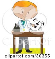 Clipart Illustration Of A Blond White Male Veterinarian Bandaging Up An Injured Puppy by Maria Bell