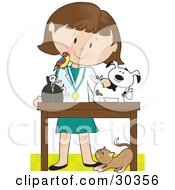 Clipart Illustration Of A Cat At A White Female Veterinarians Feet As She Bandages Up A Puppy A Bird Perched On Her Shoulder by Maria Bell