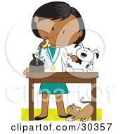 Female Latina Veterinarian With A Bird On Her Shoulder Bandaging Up An Injured Puppy A Cat At Her Feet