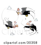 Clipart Illustration Of A Circling Group Of Black Vultures In Ta Cloudy Sky by Spanky Art