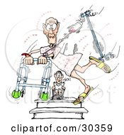 Clipart Illustration Of An Energetic Romantic Geriatric Man Running Through The Hospital With A Walker And Fluids Hearts All Around As A Person In A Wheelchair Watches