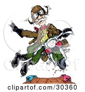 Clipart Illustration Of A Spunky Senior Ww2 Vet Man Doing Stunts On A Motorcycle