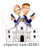 Clipart Illustration Of A Man And Woman Alamo Police Partners Standing Back To Back At The Ready With Guns by Spanky Art