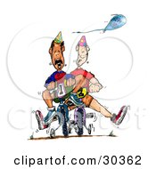 Clipart Illustration Of A Blue Balloon Passing Above A Hispanic And Caucasian Man Racing On Bikes With Training Wheels
