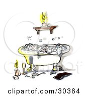 Relaxing Claw Foot Tub With Frothy Bubble Bath Illuminated In Candlelight With A Book And Glass Of Wine