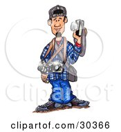 Clipart Illustration Of A Young Photographer Man Holding Up A Camera And Wearing Two Others And A Case Around His Neck by Spanky Art #COLLC30366-0019