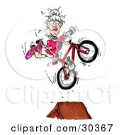 Spunky Old Granny In A Pink Dress Doing A Seat Grab Stunt Trick While Catching Air Off Of A Ramp