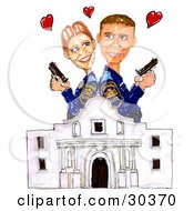 Clipart Illustration Of A Romantic Woman And Man Police Officers Standing Back To Back Holding Pistils Above The Alamo by Spanky Art