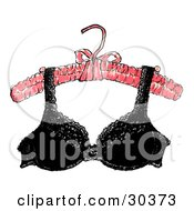 Clipart Illustration Of A Sexy Black Lacy Brassiere Hanging From A Padded Pink Hanger by Spanky Art