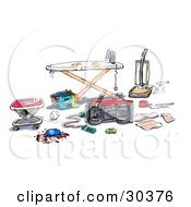 Clipart Illustration Of A Messy Household With A Baby Walker Baseball Spilled Food Jumprope Pacifier Toy Car Yo Yo Papers Vacuum And A Basket Of Laundry Under An Ironing Board