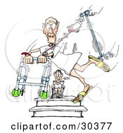 Clipart Illustration Of An Amazed Hospital Patient In A Wheelchair Watching A Friend Run Through The Halls With A Walker And Fluids