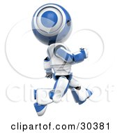 Clipart Illustration Of A Fast 3D Blue And White AO Maru Robot Running By by Leo Blanchette