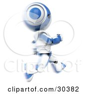 Clipart Illustration Of A 3D White And Blue Ao Maru Robot Running Past In A Blur by Leo Blanchette