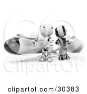 Clipart Illustration Of A 3D Racing Team Of Black And Chrome AO Maru Robots Standing Beside Their Hover Rocket Missiles