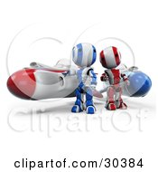Clipart Illustration Of A 3D Racing Team Of Red Amd Blue AO Maru Robots Standing Beside Their Hover Rocket Missiles