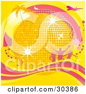 Clipart Illustration Of A Golden Disco Ball Surrounded By Palm Trees Sunshine Silhouetted People Flowers Airplanes And Butterflies And A Wave Of Pink And Yellow