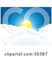 Clipart Illustration Of A Shiny Yellow Sun Peaking Over Puffy White Clouds With Rays Of Light Cast Through The Deep Blue Sky