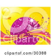 Clipart Illustration Of A Purple Disco Ball Surrounded By Silhouetted Pink People Flowers And Palm Trees With An Airplane And Butterflies On A Yellow Background