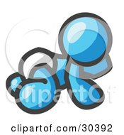 Clipart Illustration Of A Light Blue Baby In A Diaper Crawling On The Floor On A White Background