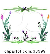 White Stationery Background Bordered By Black And Green Plants With Pink Purple And Orange Flowers