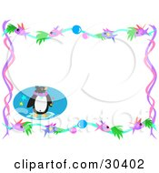 Clipart Illustration Of A Penguin With Stars In The Corner Of A Stationery Background With A Border Of Bubbles And Fish by bpearth