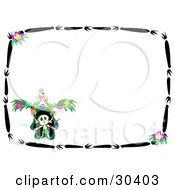 Dancing Skeleton In The Corner Of A Stationery Background With A Border Of Black Branches And Purple Flowers