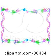 Clipart Illustration Of A Stationery Border Of Pink And Purple Fishies With Bubbles Over White by bpearth