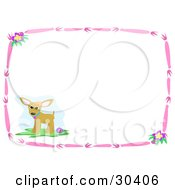 Clipart Illustration Of A Chihuahua Puppy Dog With A Ball In The Corner Of A Stationery Background Bordered By Pink Branches And Flowers by bpearth