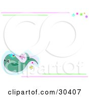 Clipart Illustration Of A Whale Swimming With Fish In The Corner Of A Stationery Background Bordered With Pink And Green Lines And Colorful Stars by bpearth