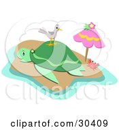 Clipart Illustration Of A Crab Under An Umbrella Near A Seagull Standing On A Sea Turtles Back On A Tropical Beach