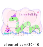 Clipart Illustration Of A Green Snake Wearing A Hat And Slithering By A Birthday Cake With A Greeting by bpearth