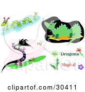 Clipart Illustration Of A Set Of Dragons And Serpents One Swimming One Watching A Bee And One Whistling by bpearth