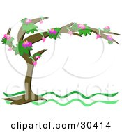 Clipart Illustration Of A White Stationery Background Framed By A Tree With Pink Flowers And Growing Hearts by bpearth