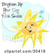 Clipart Illustration Of A Happy Yellow Sun Character In The Sky With Stars And A Cloud by bpearth
