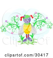 Clipart Illustration Of A Purple Jester Honey Bee Standing Between Flowers