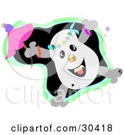 Happy Dancing Skull Character With A Pink Umbrella With Stars Over A Black And Green Background