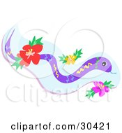 Clipart Illustration Of A Yellow Blue Green And Purple Snake With Red Yellow And Pink Hibiscus Flowers by bpearth