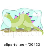 Clipart Illustration Of A Friendly Green Dinosaur With Pink Spikes Wearing A Yellow And Pink Collar And Walking Through A Landscape With Mountains In The Background